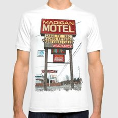 Motel Americana White MEDIUM Mens Fitted Tee