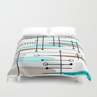 mid century modern Duvet Covers featuring Mid-Century Modern Atomic Inspired by Kippygirl