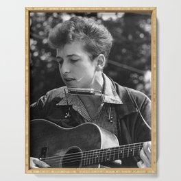 very young bob dylan 1974 Serving Tray