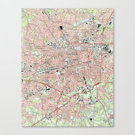 Greensboro North Carolina Map (1997) Canvas Print