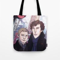 enerjax Tote Bags featuring London Johnlock by enerjax