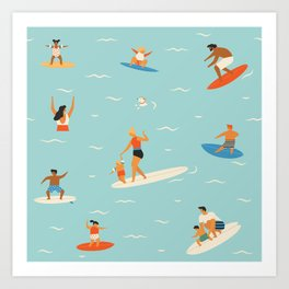 Surfing kids Art Print