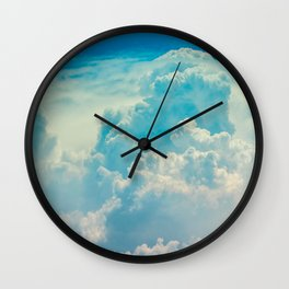 White Cloud In A Blue Sky Heavenly Fluffy Clouds Wall Clock