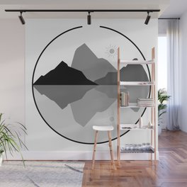 Gray Scale Nature with Bear Wall Mural