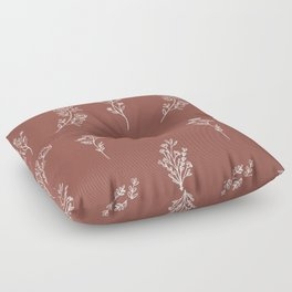 Botanical Wildflowers Line Art Floor Pillow