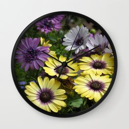 Yellow and Purple African Daisies Wall Clock