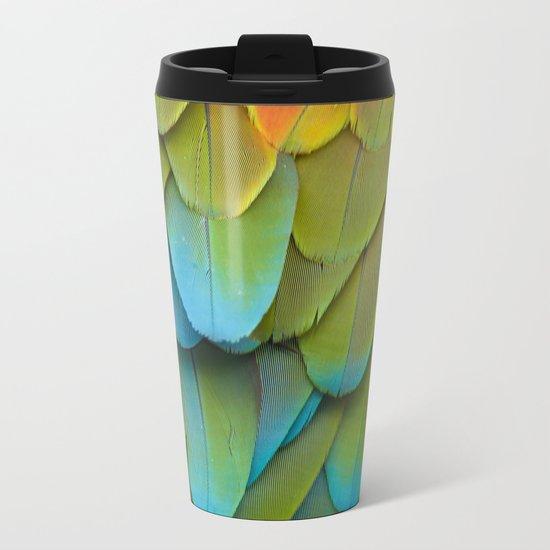 Feathery blue Metal Travel Mug