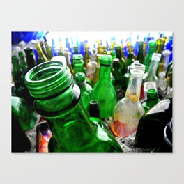 A wall of bottles Canvas Print