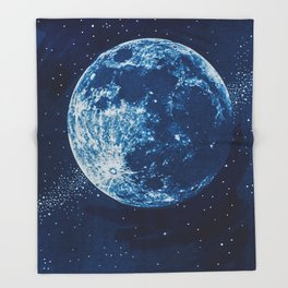 Big Blue Moon Throw Blanket