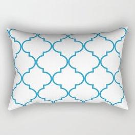 Quatrefoil - Cerulean on White Rectangular Pillow