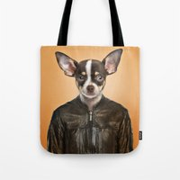 chihuahua Tote Bags featuring Chihuahua  by Life on White Creative