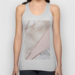 Spliced mixed rose gold marble Unisex Tank Top