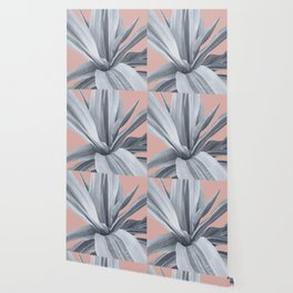 Grey Leaves. Tropical pink Wallpaper