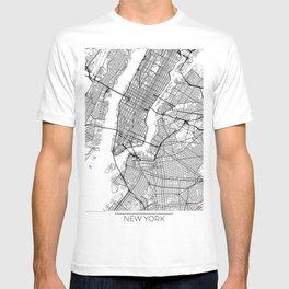 New York Map White T-shirt