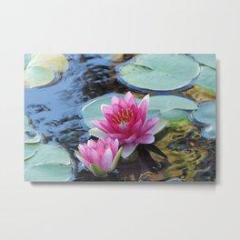 Twin Pink Dragon Lotus Metal Print