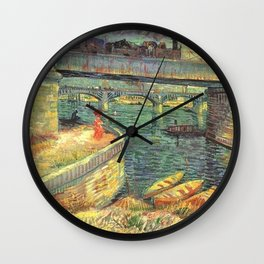 Bridge across the Seine at Asnieres by Vincent van Gogh Wall Clock