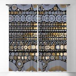 WRANGLE - indigo denim blue black tan cream circle abstract design Blackout Curtain
