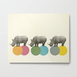 Rambling Rhinos Metal Print