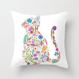 Fancy And Fine Flowered Cat Garden Design Throw Pillow