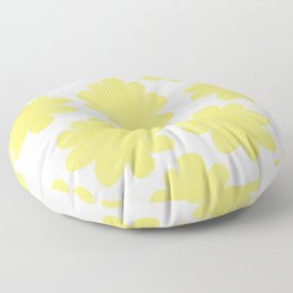 Yellow Flowers on Pale Yellow Floor Pillow