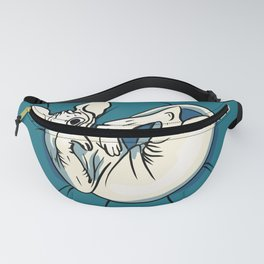 Playful Sphynx Kitty - Curled Up Nude Cat - Wrinkly Nude Cat - Blue Fanny Pack