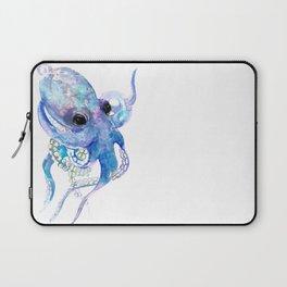 Octopus, sky blue, royal blue sea world underwater scene, beach house art Laptop Sleeve