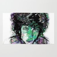 dylan Area & Throw Rugs featuring Bob Dylan by Irmak Akcadogan