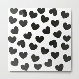 Black & white hearts pattern Metal Print