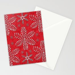 DP044-8 Silver snowflakes on red Stationery Cards