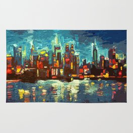 Abstract NYC Skyline Rug