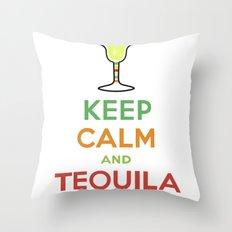 Keep Calm Tequila - white Throw Pillow
