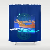 maori Shower Curtains featuring Maori Canoes : Waka by Patricia Howitt