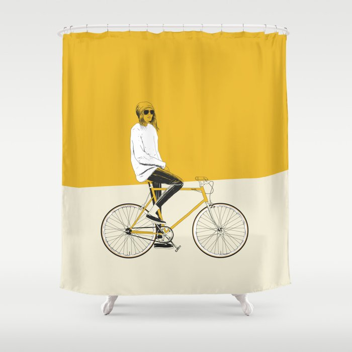 The Yellow Bike Shower Curtain By Theredwolf