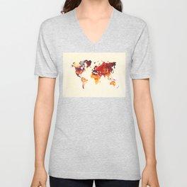 world map 89 art red Unisex V-Neck