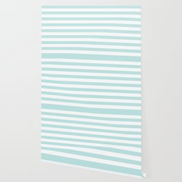 Simply Striped in Succulent Blue and White Wallpaper