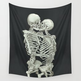Valentine's Day: Skeleton Kiss Wall Tapestry