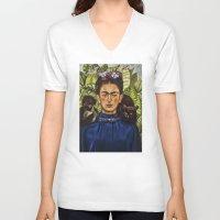 frida V-neck T-shirts featuring FRIDA by NOXBIL