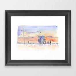 Sunset in Santa Monica Framed Art Print