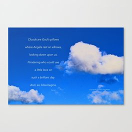 """Clouds #57"" with poem: God's Pillows Canvas Print"