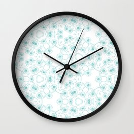 Blue Daisy Chain Wall Clock