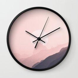 Gray Pink Gradient Mountain Range Wall Clock