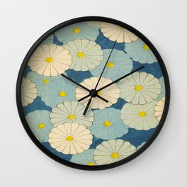 Shin-Bijutsukai – Japanese Design Blue Floral Pattern Wall Clock