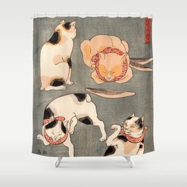 Four cats in different poses Shower Curtain