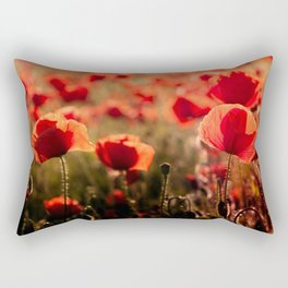 Fiery poppy field - Red Poppies Flowers Rectangular Pillow