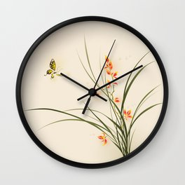 Oriental style painting - orchid flowers and butterfly 003 Wall Clock
