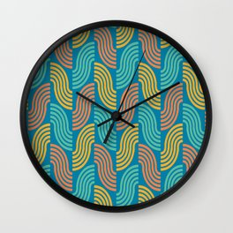 Colorful 70's Vibes (blue background) Wall Clock