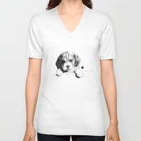 puppy V-neck T-shirts featuring Puppy by Nuria Galceran