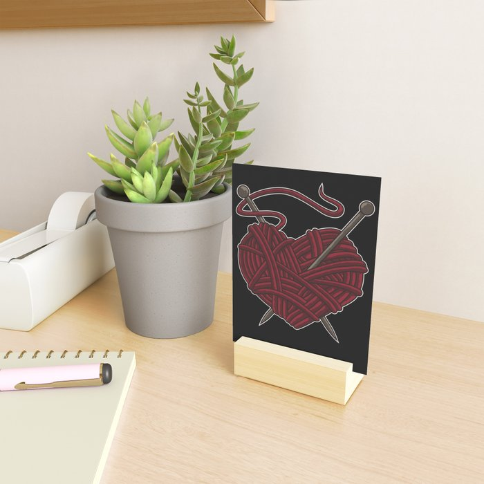 I Love Knitting | Wool Needle Heart Sewing Craft Mini Art Print