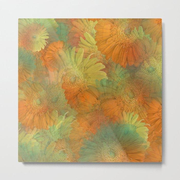 Floral Orange-Yellow-Green Metal Print