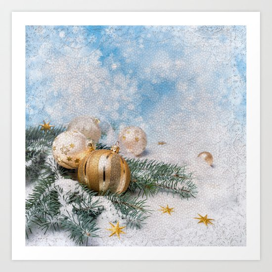 Gold Blue Ornaments Art Print